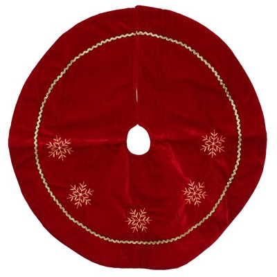 """Northlight 24"""" Red with White Snowflakes Christmas Tree Skirt"""