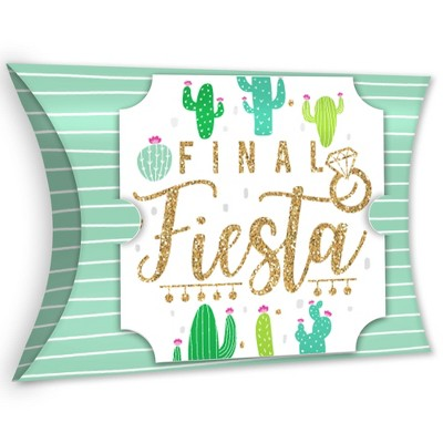 Big Dot of Happiness Final Fiesta - Favor Gift Boxes - Last Fiesta Bachelorette Party Large Pillow Boxes - Set of 12