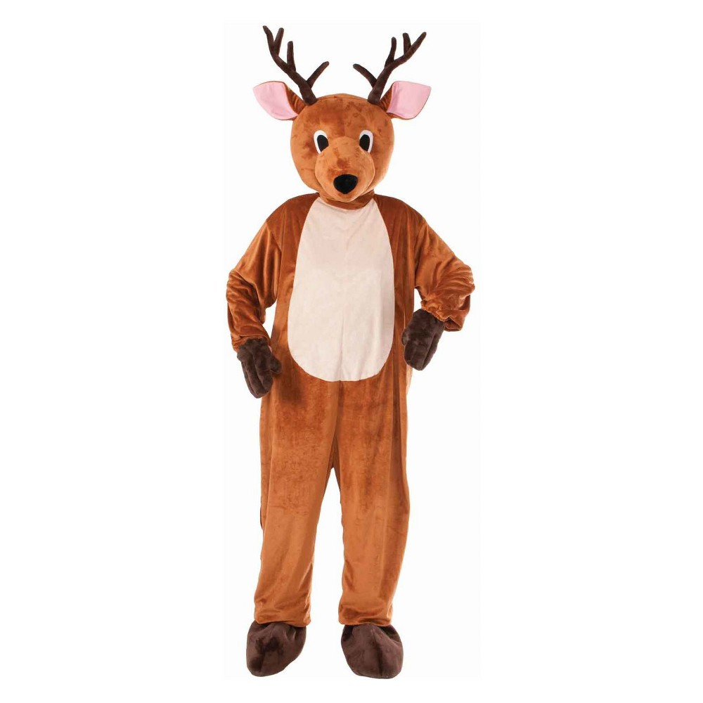 Image of Halloween Adult Reindeer Mascot Halloween Costume, Adult Unisex, Size: One Size, Brown