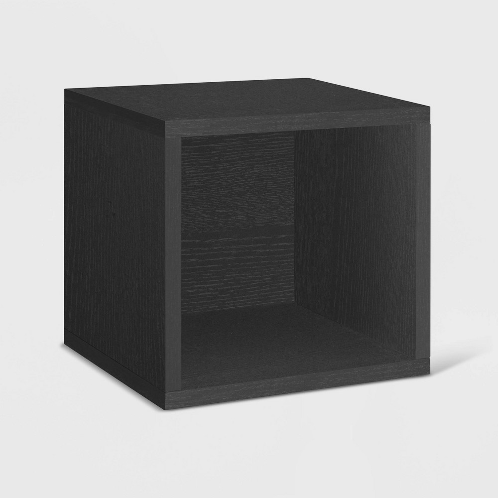 Way Basics Stackable Eco Cube Storage Cubby Organizer Black Wood Grain