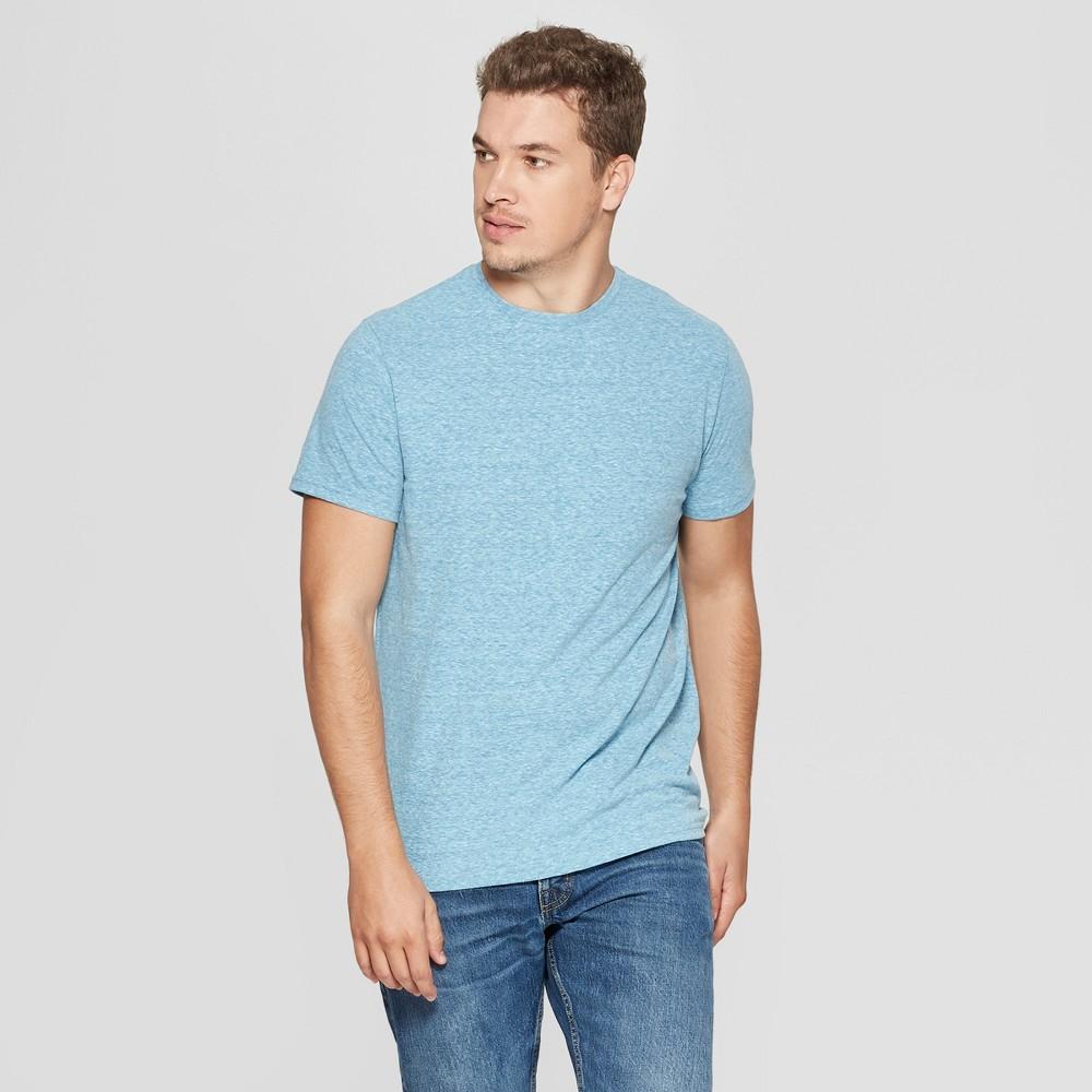 Men's Standard Fit Short Sleeve Novelty Crew T-Shirt - Goodfellow & Co Hawaiian Blue XL