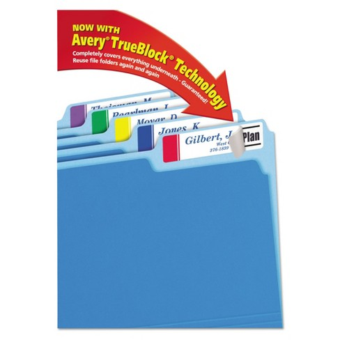 avery extra large 1 3 cut file folder labels white assorted 450