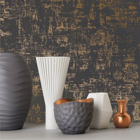 Distressed Weave Charcoal Karat Wallpaper Devine Color