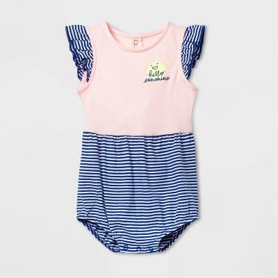 Baby Girls' Hello Sunshine Striped Romper - Cat & Jack™ Pink 6-9M
