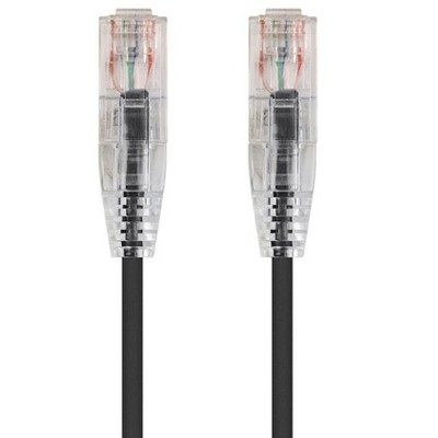 Monoprice Cat6 Ethernet Patch Cable - 5 feet - Black   Snagless RJ45 Stranded 550MHz UTP CMR Riser Rated Pure Bare Copper Wire 28AWG - SlimRun Series
