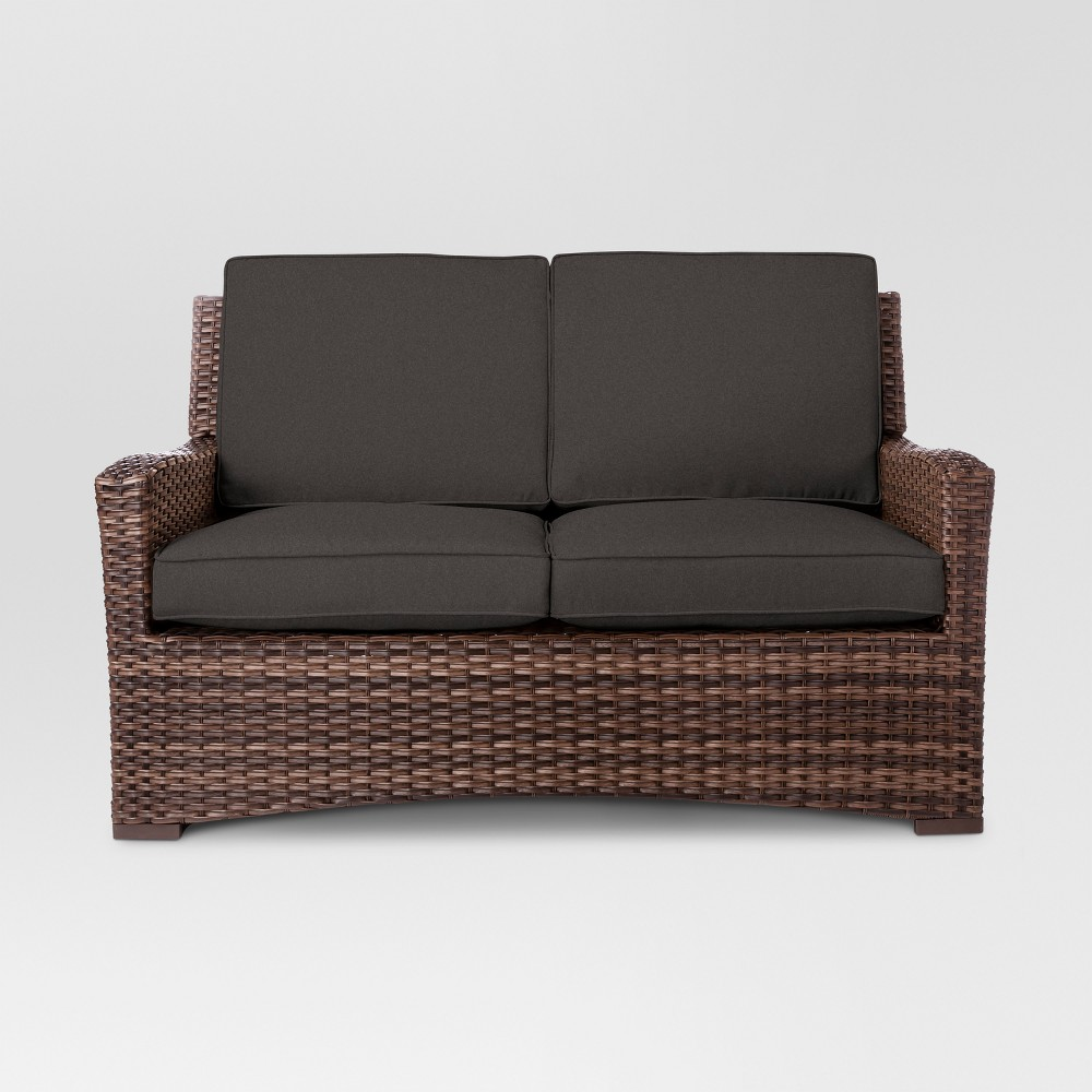 Halsted Wicker Patio Loveseat Charcoal (Grey) - Threshold