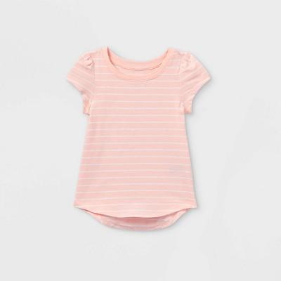 Toddler Girls' Striped Short Sleeve T-Shirt - Cat & Jack™ Pink