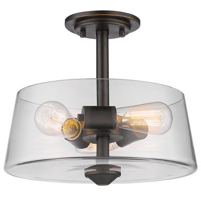 """3-Light 10"""" Ceiling Light Semi-Flush Mount Olde Bronze - Z-Lite"""
