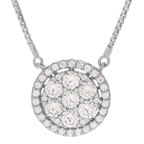 "3/4 CT. T.W. Round-cut Cubic Zirconia Disc Pave Set Pendant Necklace in Sterling Silver - Silver (18"") - image 1 of 2"