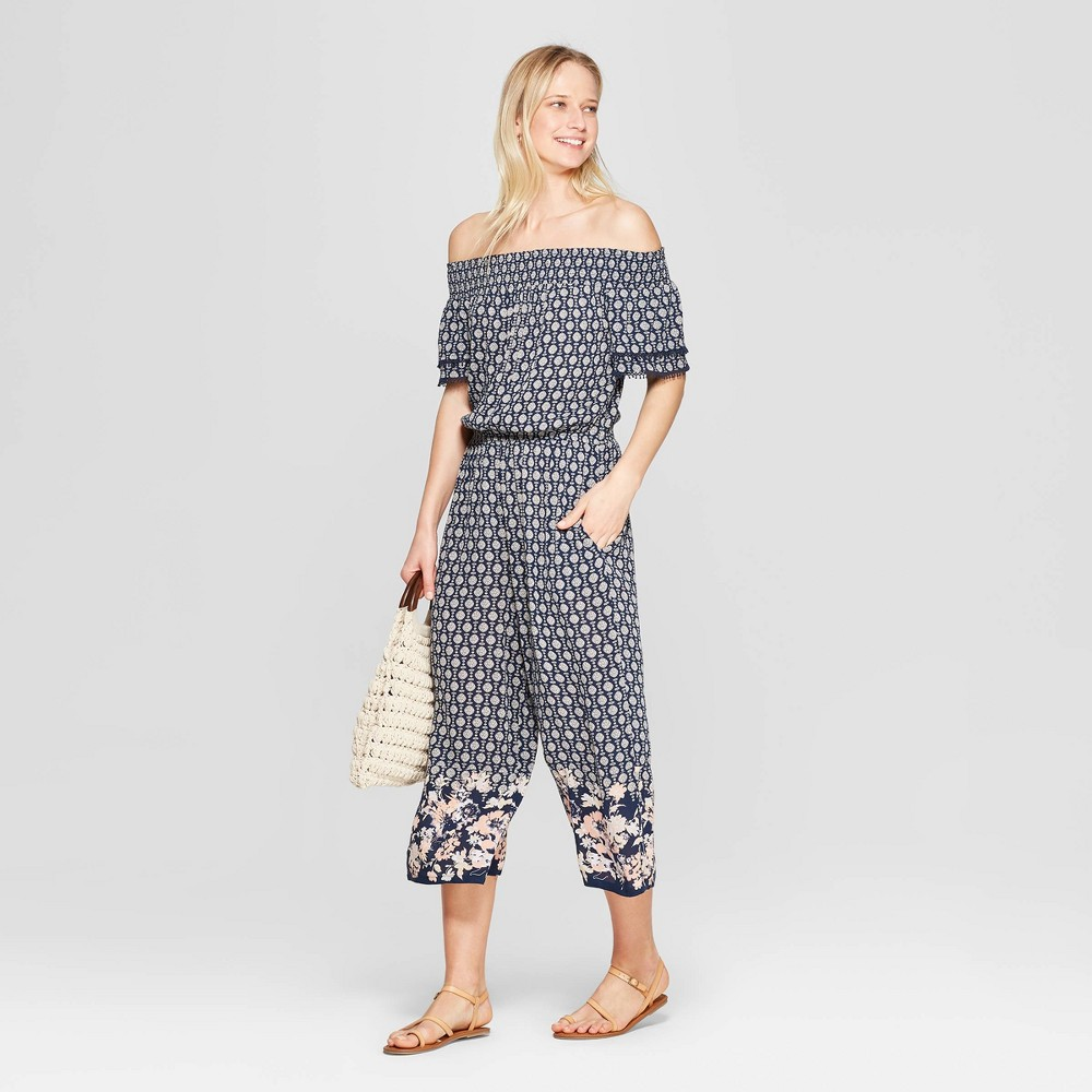 024226f49f1 Womens Floral Print Short Sleeve Off the Shoulder Smocked Top Cropped  Jumpsuit With Border Print Xhilaration Blue S
