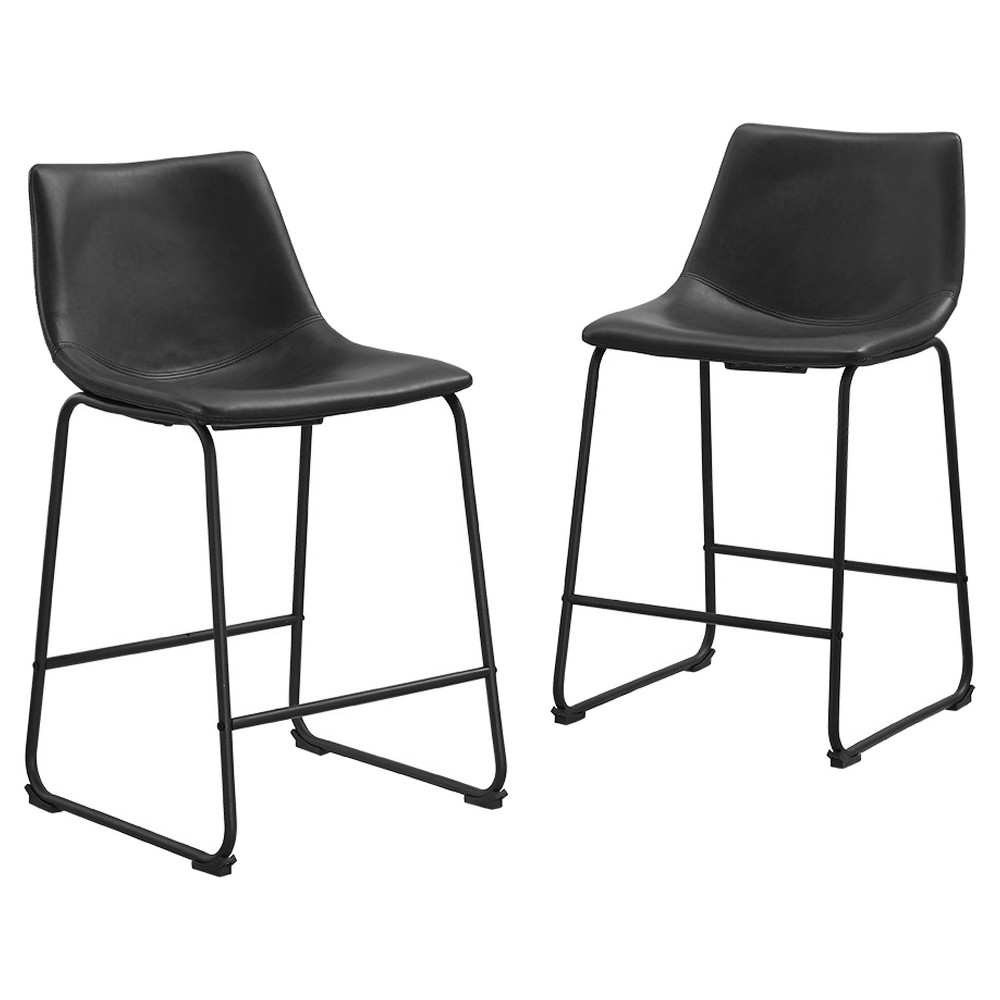 Faux Leather Dining Kitchen Counter Stools Set of 2 - Black - Saracina Home