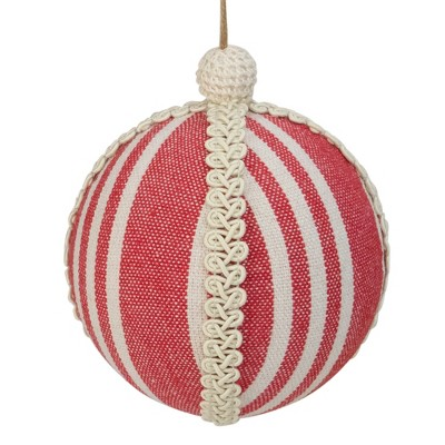 """Northlight 4.75"""" Red and White Striped Ball Christmas Ornament with Rope Accent"""