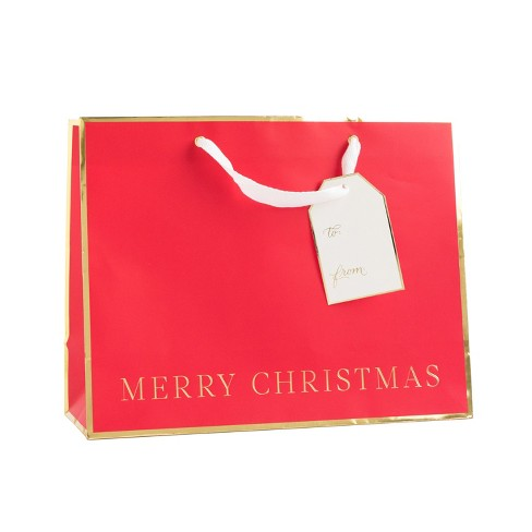 red with gold merry christmas large vogue gift bag sugar paper