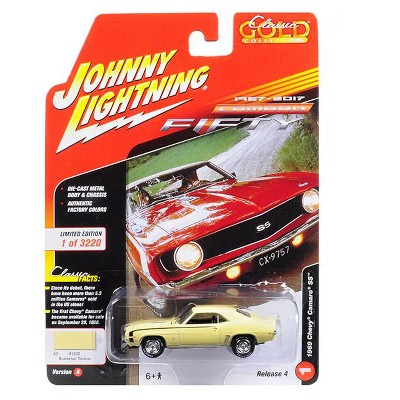 """1969 Chevrolet Camaro SS Butternut Yellow 50th Anniversary Ltd Ed to 3220pc """"Muscle Cars USA"""" 1/64 by Johnny Lightning"""