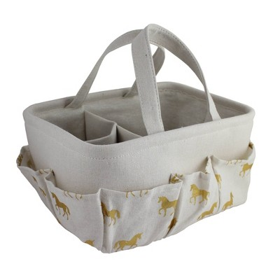"Beriwinkle ""All Over Gold"" Unicorn Print Diaper Caddy - Ivory"