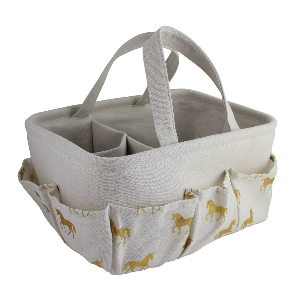 "Image of ""Beriwinkle """"All Over Gold"""" Unicorn Print Diaper Caddy - Ivory"""