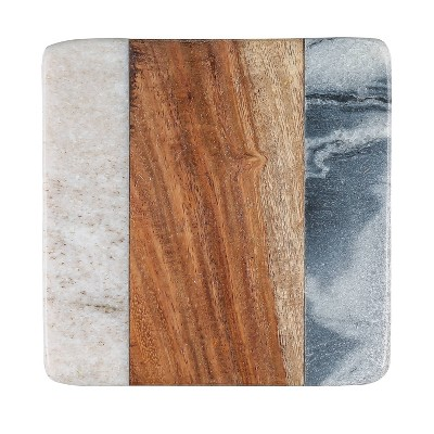 4pk Sheesham Wood and Marble Coasters - Thirstystone