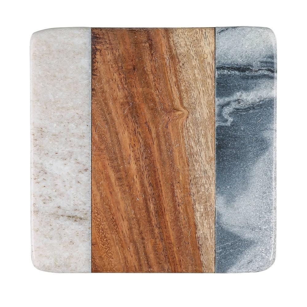 Image of 4pk Sheesham Wood and Marble Coasters - Thirstystone
