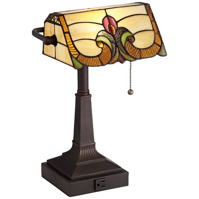 "Robert Louis Tiffany Traditional Piano Banker Desk Table Lamp 17"" High with AC Power Outlet Bronze Floral Art Glass Bedroom Office"