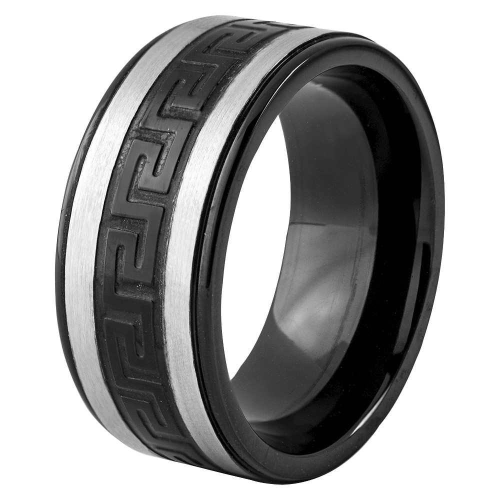 Men's West Coast Jewelry Two-Tone Stainless Steel Greek Key Band Ring (10), Black
