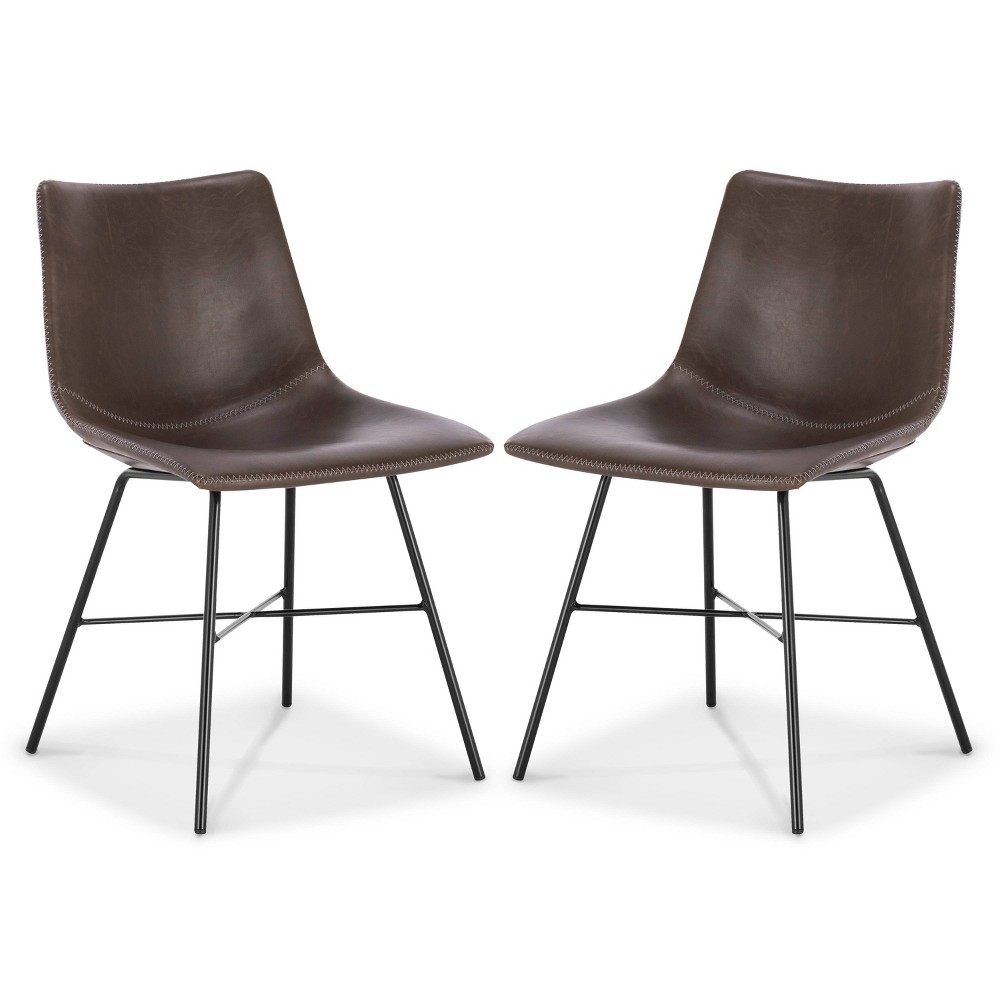 Set Of 2 Phillip Dining Chair Brown Poly 38 Bark