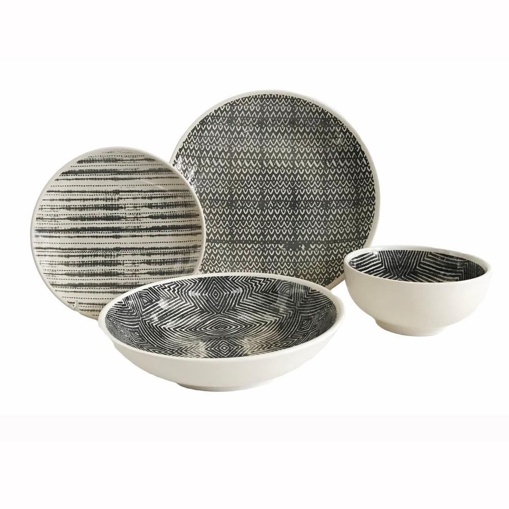 Image of 16pc Stoneware Dalton Dinnerware Set Gray Baum Bros.