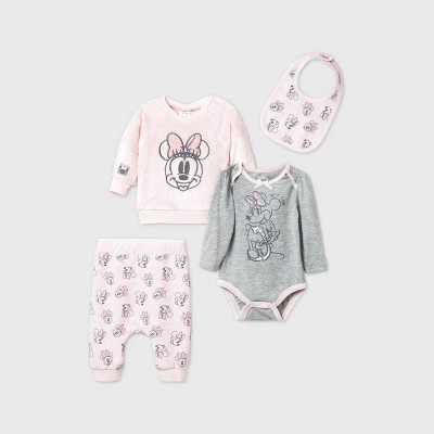 Baby Girls' 4pk Minnie Mouse Woobie Fleece Long Sleeve Top and Bottom Set - Pink Newborn