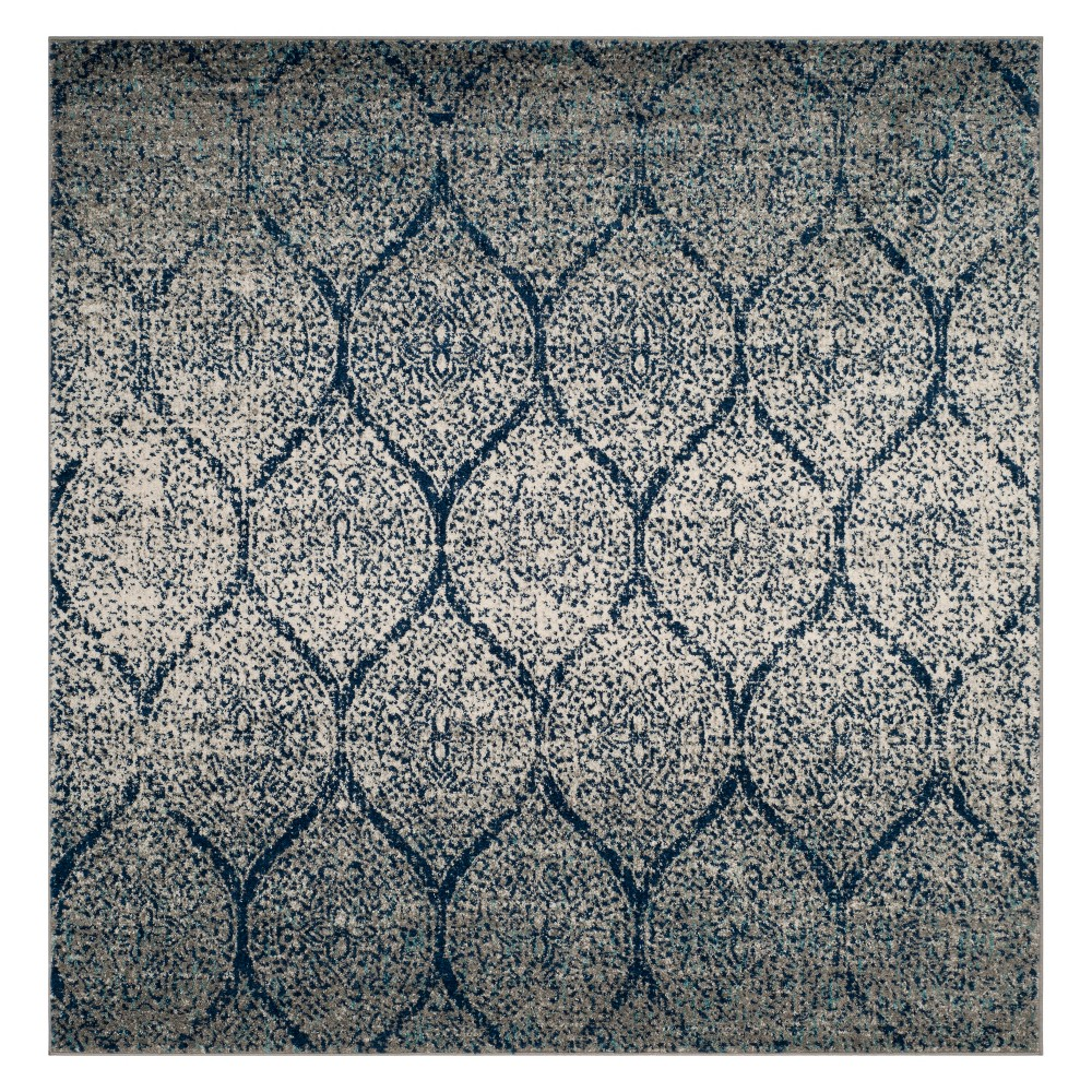 9'X9' Shapes Loomed Square Area Rug Navy/Silver - Safavieh, Blue