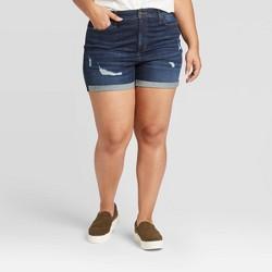 Women's Plus Size High-Rise Distressed Jean Shorts - Universal Thread™ Dark Wash