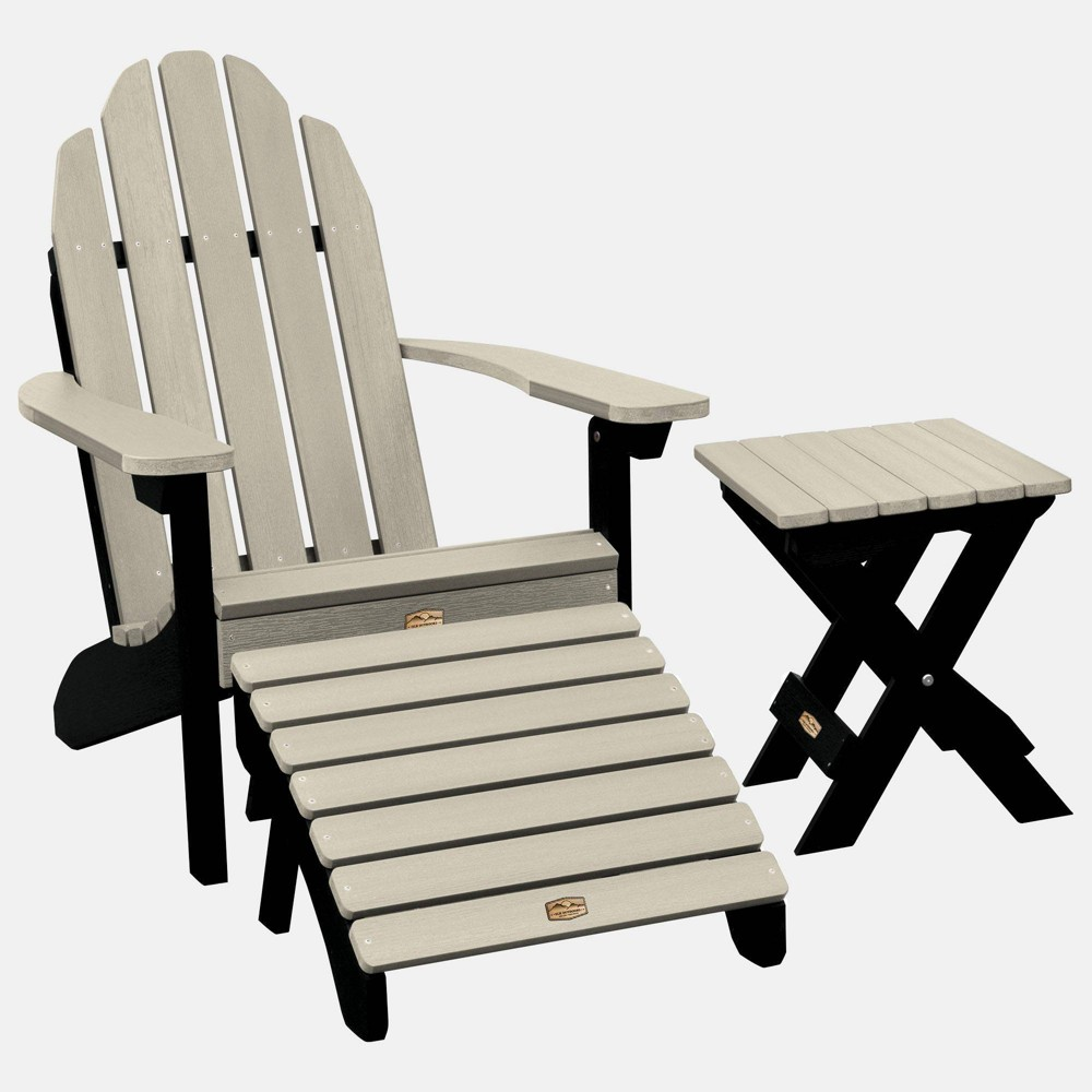 Image of Essential Adirondack Patio Chair with Ottoman & Side Table Ivory - highwood