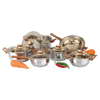 Gourmet Chef 12 Piece Stainless Steel Cookware Set with Brown Handles and Knobs