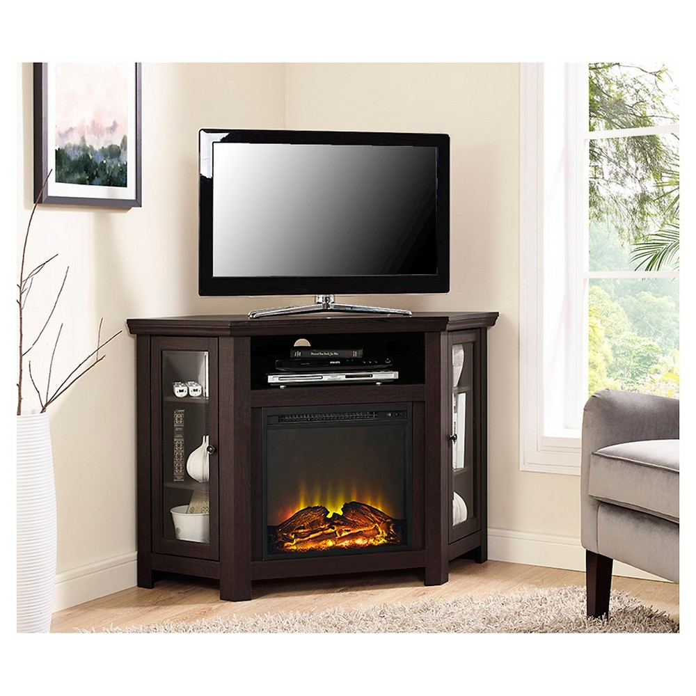 "Image of ""48"""" Wood Corner Fireplace Media TV Stand Console Espresso - Saracina Home, Brown"""
