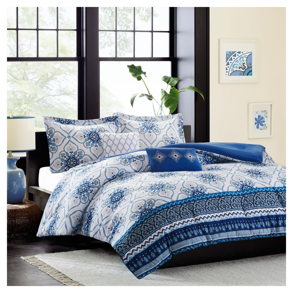 Blue Taylor Floral Printed Comforter Set (Full/Queen) 5pc