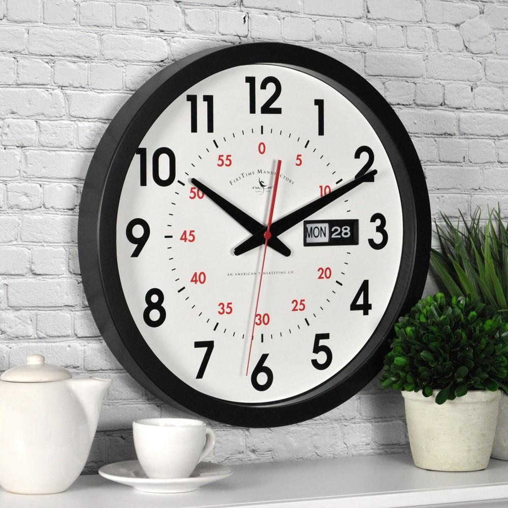 "Image of ""14"""" Day Date Wall Clock Black - FirsTime"""
