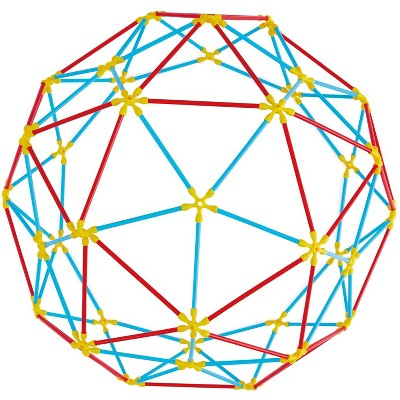 Hape Geodesic Structure Colorful STEM Educational Bamboo Flexistix Kit Building Toy for Ages 4 Year Old and Up