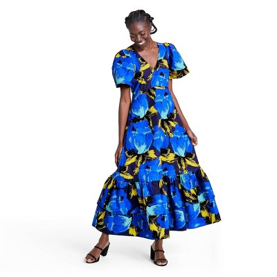 Floral Puff Sleeve Tiered Dress - Christopher John Rogers for Target Blue