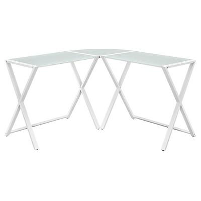 Glass L Shaped Computer Desk White - Saracina Home