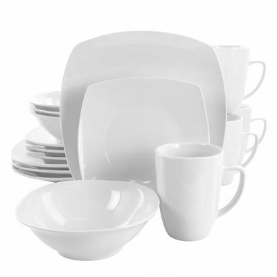 16pc Porcelain Bishop Square Dinnerware Set White - Elama