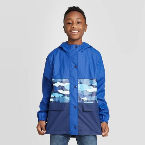 Boys' Colorblock Camo Rain Coat - Cat & Jack™ Blue - image 1 of 3