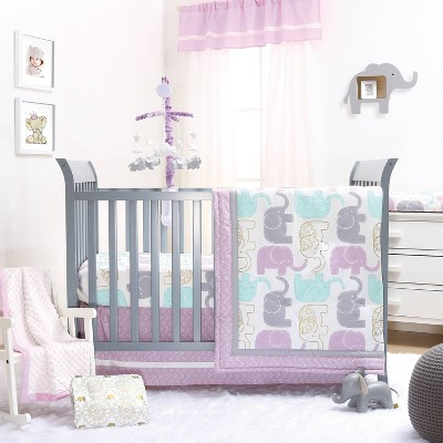 The Peanutshell Little Peanut Lilac Crib Bedding Set 4pc