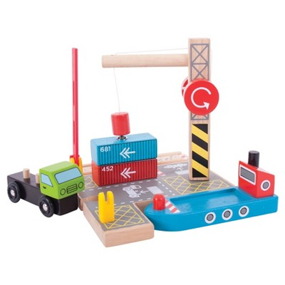 Bigjigs Rail Container Shipping Yard Wooden Railway Train Set Accessory