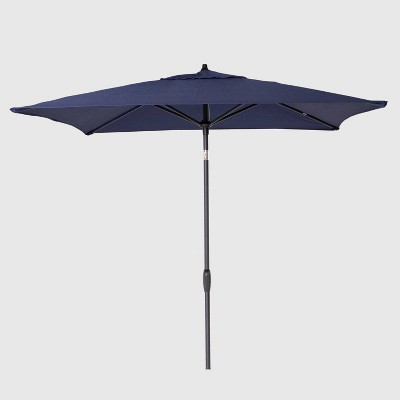 10' x 6' Square Patio Umbrella Navy - Black Pole - Threshold™