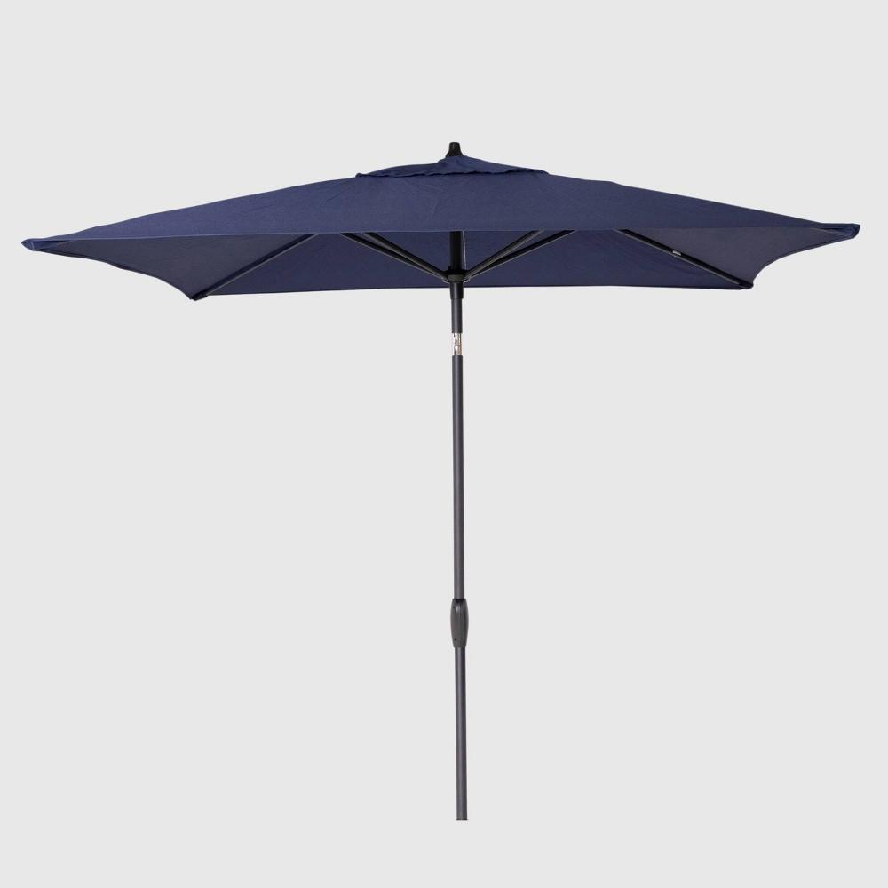 6.5' Square Patio Umbrella Navy (Blue) - Black Pole - Threshold