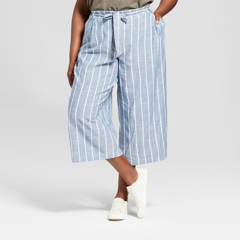 Women's Plus Size Striped Chambray Pants - Universal Thread™ Blue - image 1 of 3