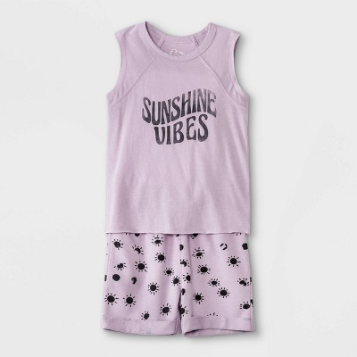 Toddler Boys' 2pc 'Sunshine Vibes' Tank Top & Shorts Set - art class™ Purple