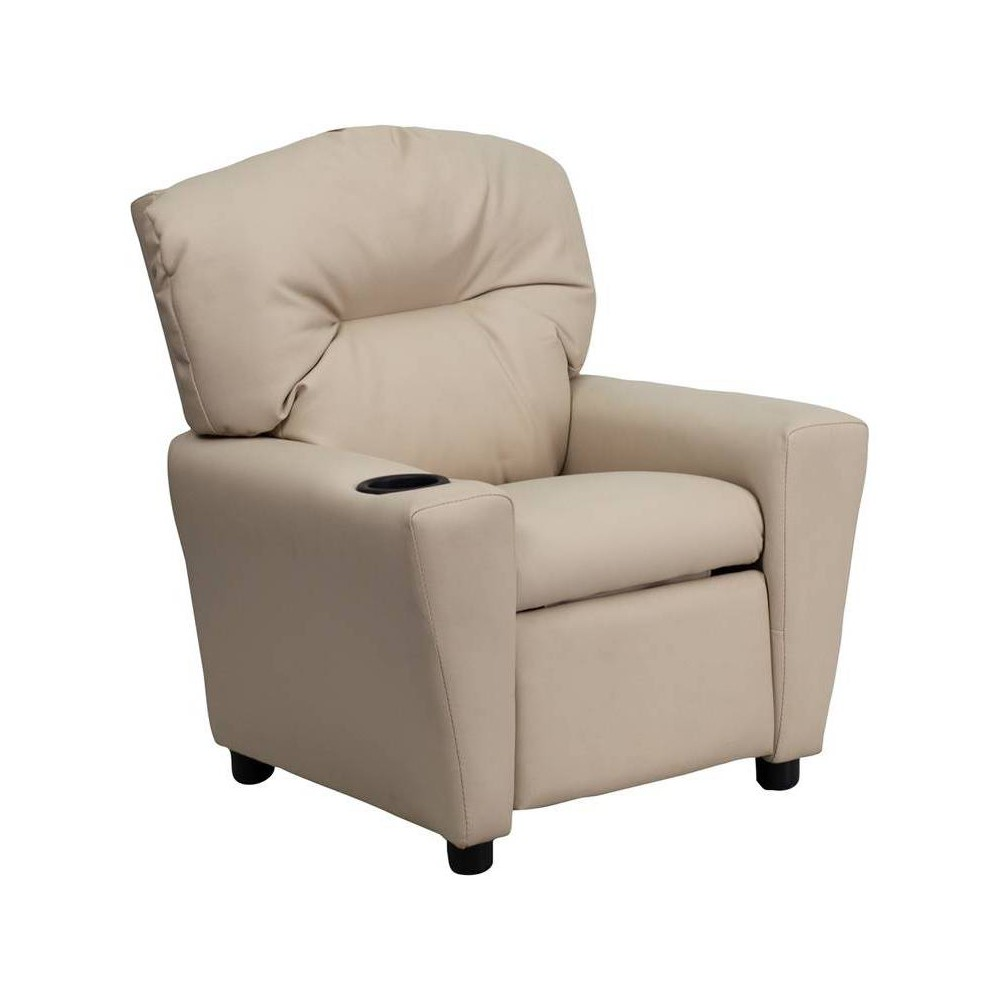 Contemporary Kids Recliner with Cup Holder Vinyl Beige - Riverstone Furniture