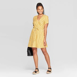 Women's Striped Short Sleeve V-Neck Wrap Knit Mini Dress - Xhilaration™ Yellow XXL