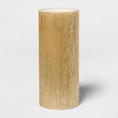 "7""x 3"" LED Unscented Metallic Gold Pillar Candle - Threshold™"