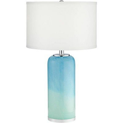 360 Lighting Modern Table Lamp with Nightlight Blue Art Glass Off White Drum Shade for Living Room Bedroom Bedside Nightstand