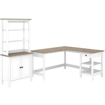 Bush Furniture 60 L-Shaped Computer Desk w/5-Shelf Bookcase Pure White/Shiplap Gray MAY014GW2